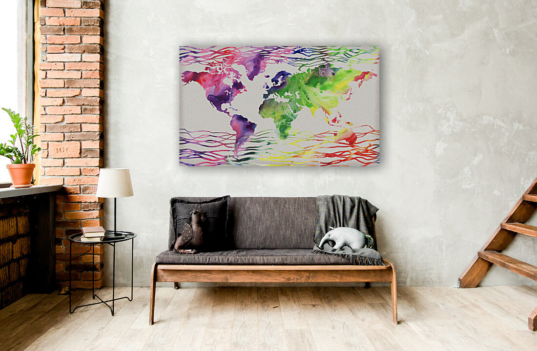 Colorful Wave Of Watercolour World Map  Art