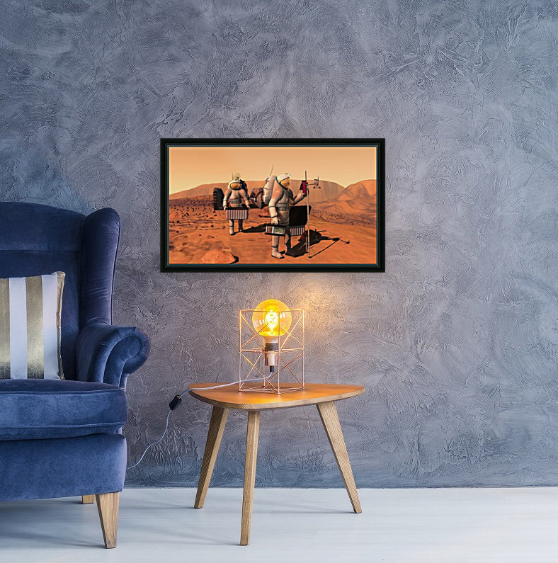 Artists concept of astronauts setting up weather monitoring equipment on Mars.  Art