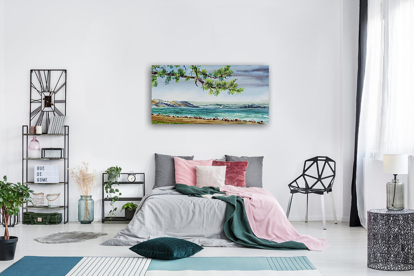 Sea Shore Beach House View Watercolor with Floating Frame