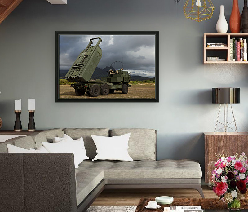 A M142 High Mobility Artillery Rocket System.  Art