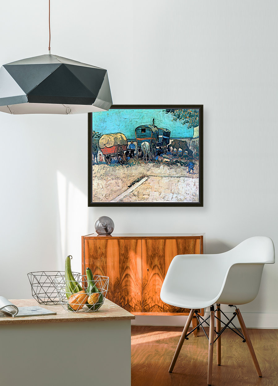 Gypsy camp with horse carriage by Van Gogh - Van Gogh Canvas