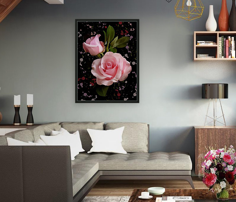 Pink Roses with Floating Frame