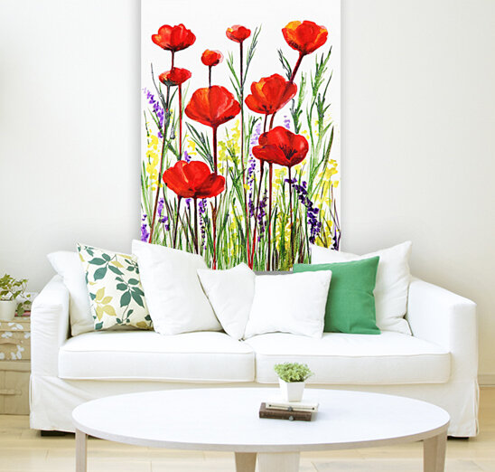 Red Poppies And Lavender Field Watercolor  Art