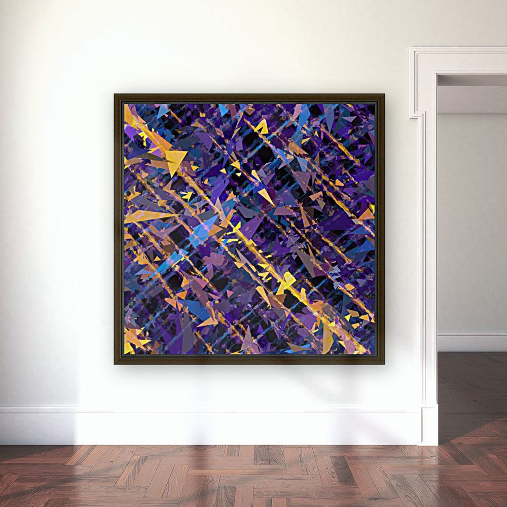 splash geometric triangle pattern abstract background in blue purple yellow  Art