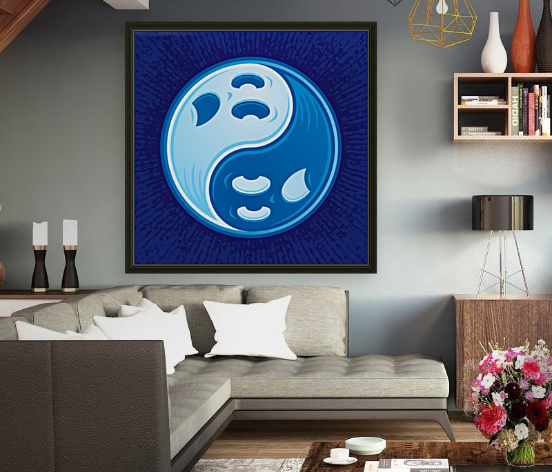 Ghost Yin Yang Symbol with Floating Frame