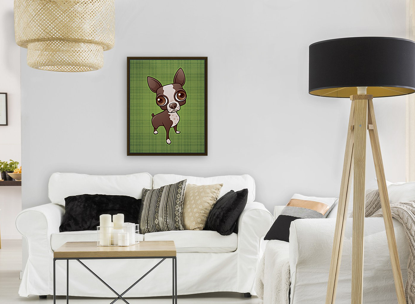 Zippy the Boston Terrier with Floating Frame