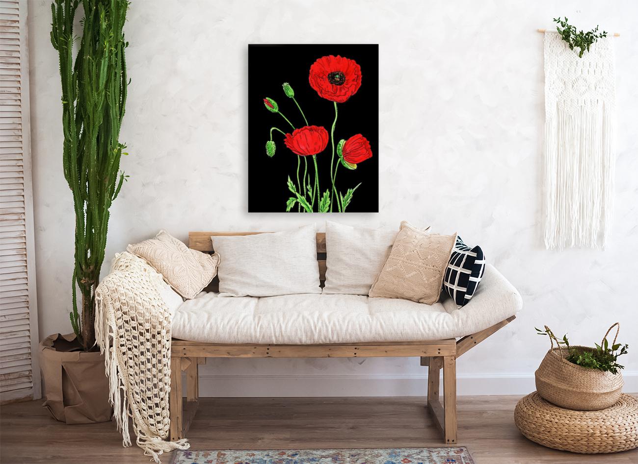 Red Poppy Flowers Watercolor  Art