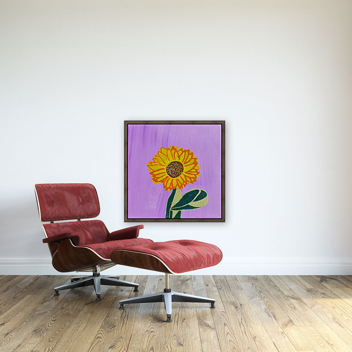 Sunflower. Annie F. with Floating Frame