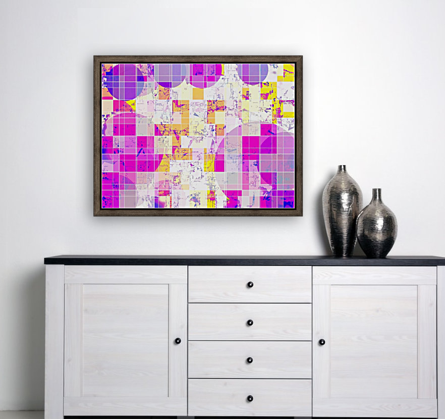 geometric square and circle pattern abstract in pink purple yellow  Art