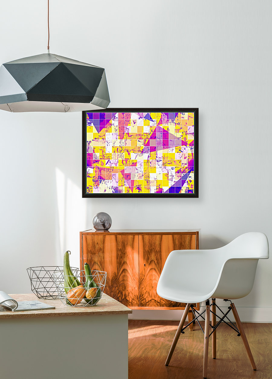 geometric square and triangle pattern abstract in pink yellow blue  Art