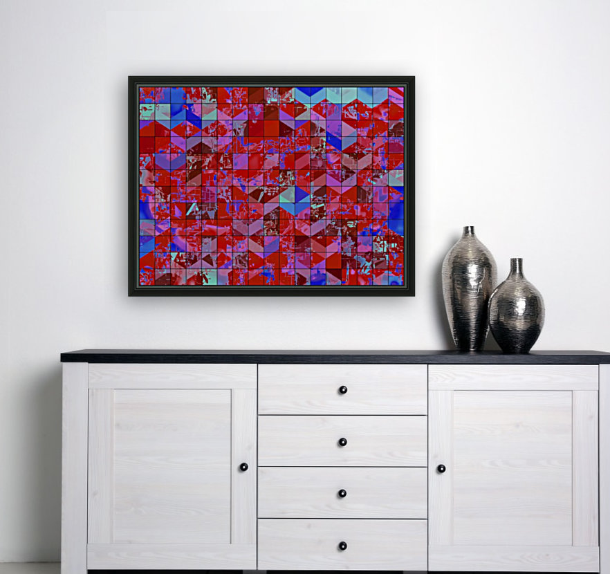 geometric square and triangle pattern abstract in red and blue  Art