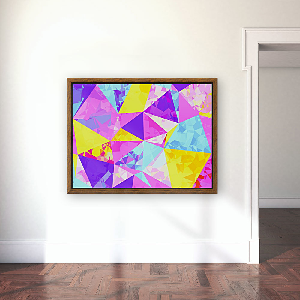 geometric triangle polygon pattern abstract in pink purple blue yellow  Art