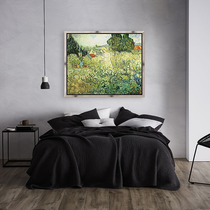 Marguerite Gachet in her garden by Van Gogh with Floating Frame