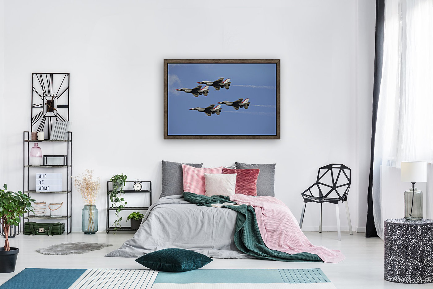 The U.S. Air Force Thunderbirds fly in formation.  Art