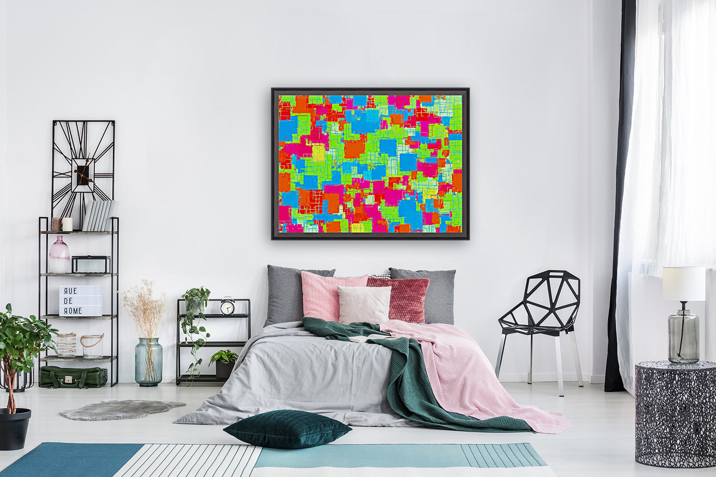 geometric square pattern abstract in green blue pink  Art
