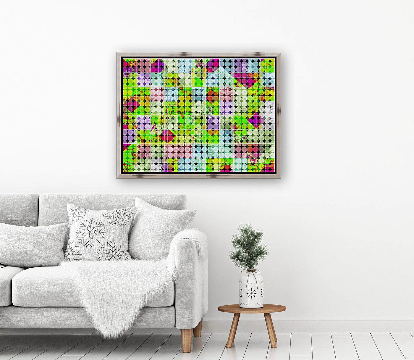 geometric square and circle pattern abstract in green pink  Art