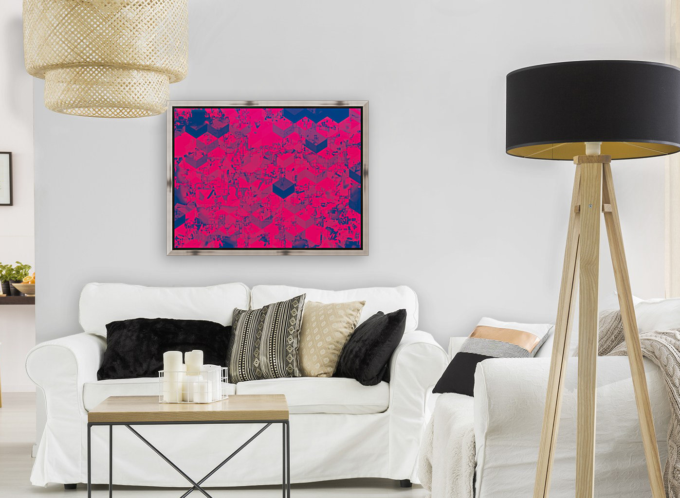 geometric square pattern abstract in pink blue  Art