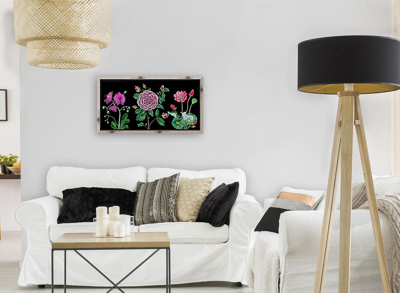 Camellia Orchid Lotus Flowers Watercolor On Black  Art