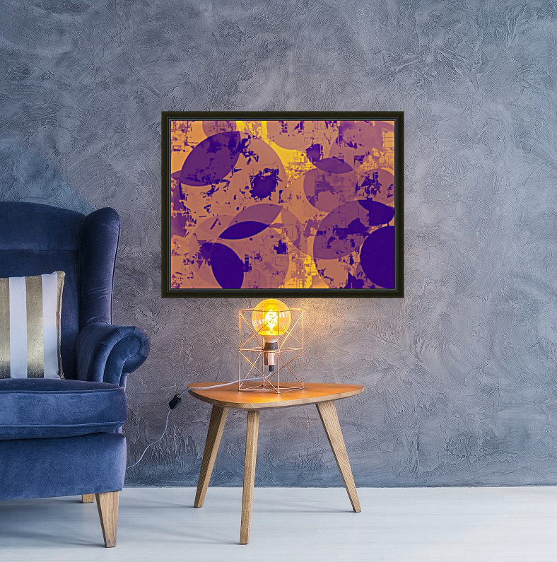 geometric circle pattern abstract in yellow and blue  Art