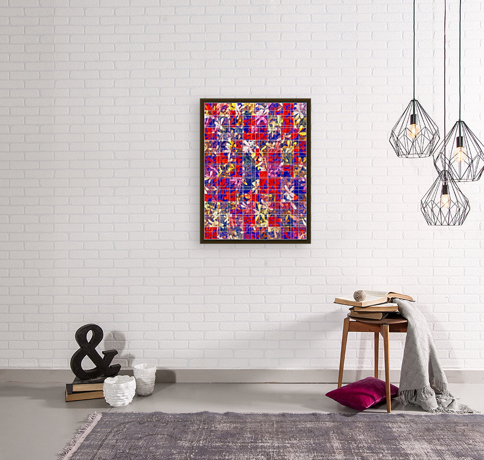 blooming flower with square pattern abstract in red and blue  Art