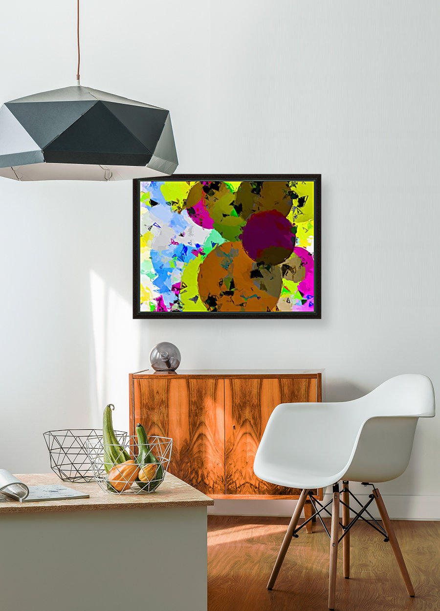 geometric circle pattern abstract in yellow brown pink green  Art