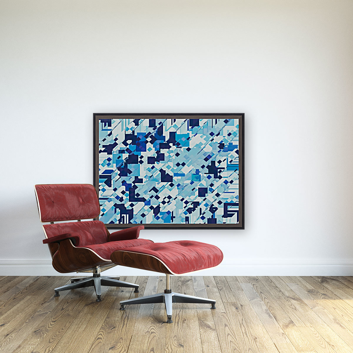 geometric square pixel pattern abstract background in blue  Art