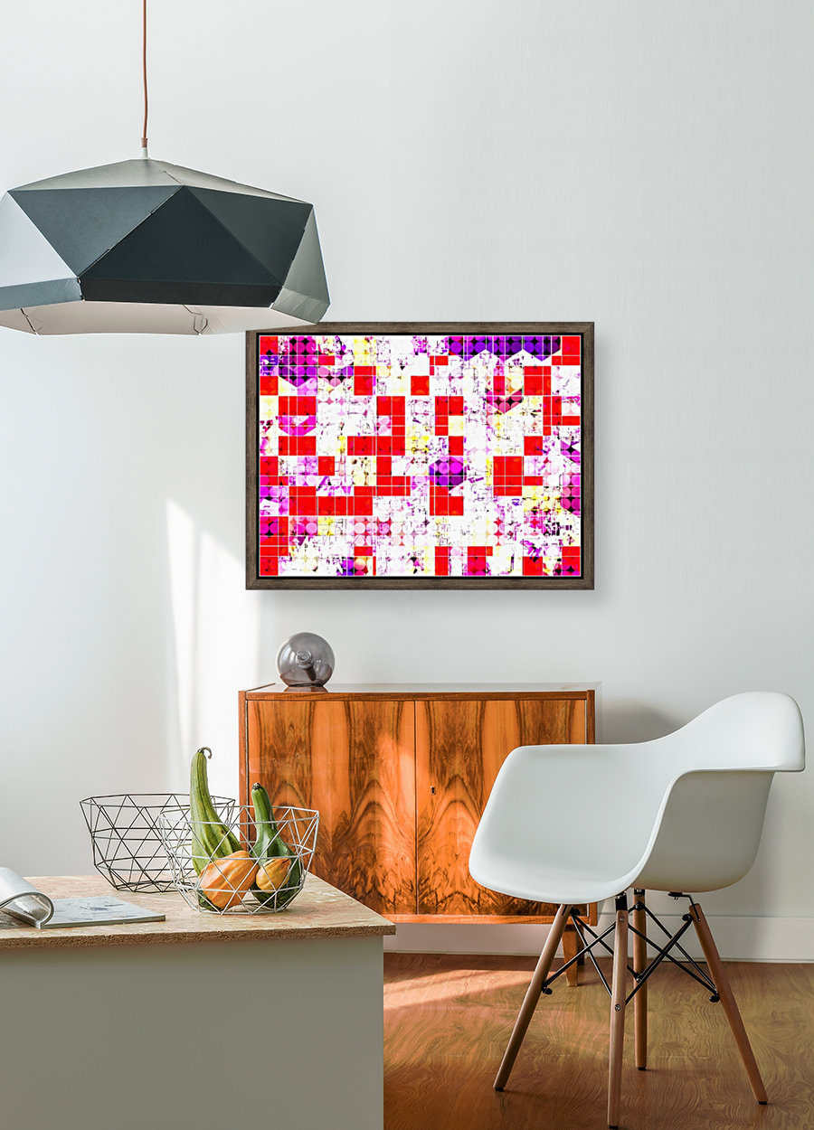 geometric circle and square pattern abstract in red pink yellow  Art