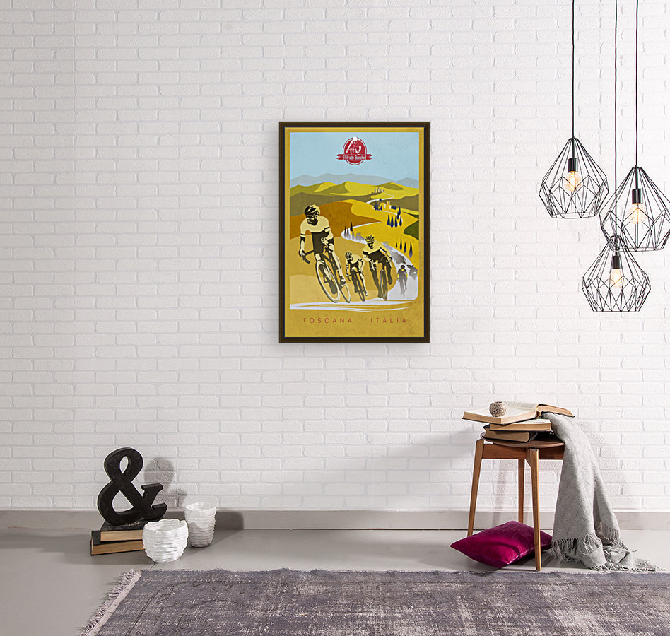 retro Strade Bianche cycling poster  Art