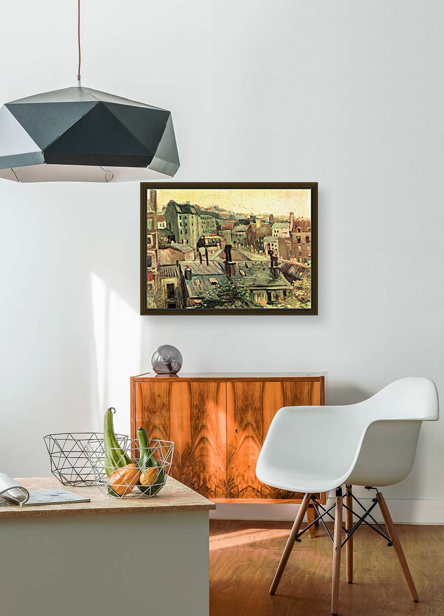 Overlooking the rooftops of Paris by Van Gogh with Floating Frame