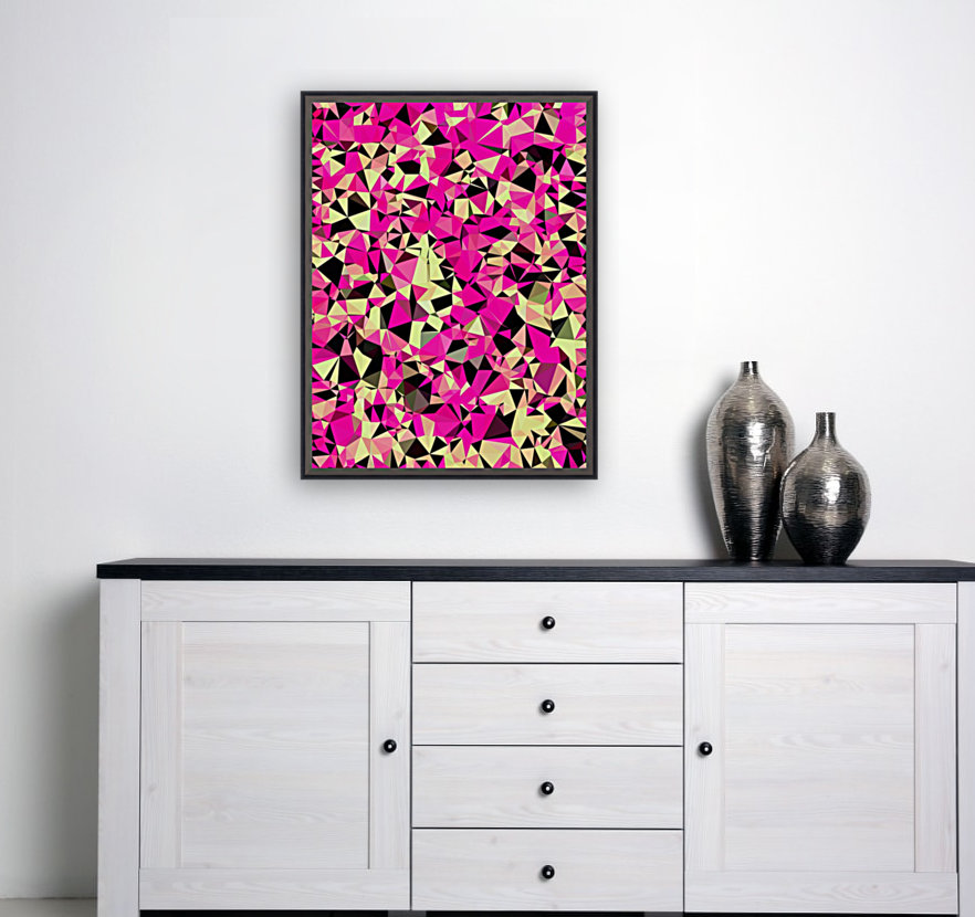 geometric triangle pattern abstract in pink and black  Art