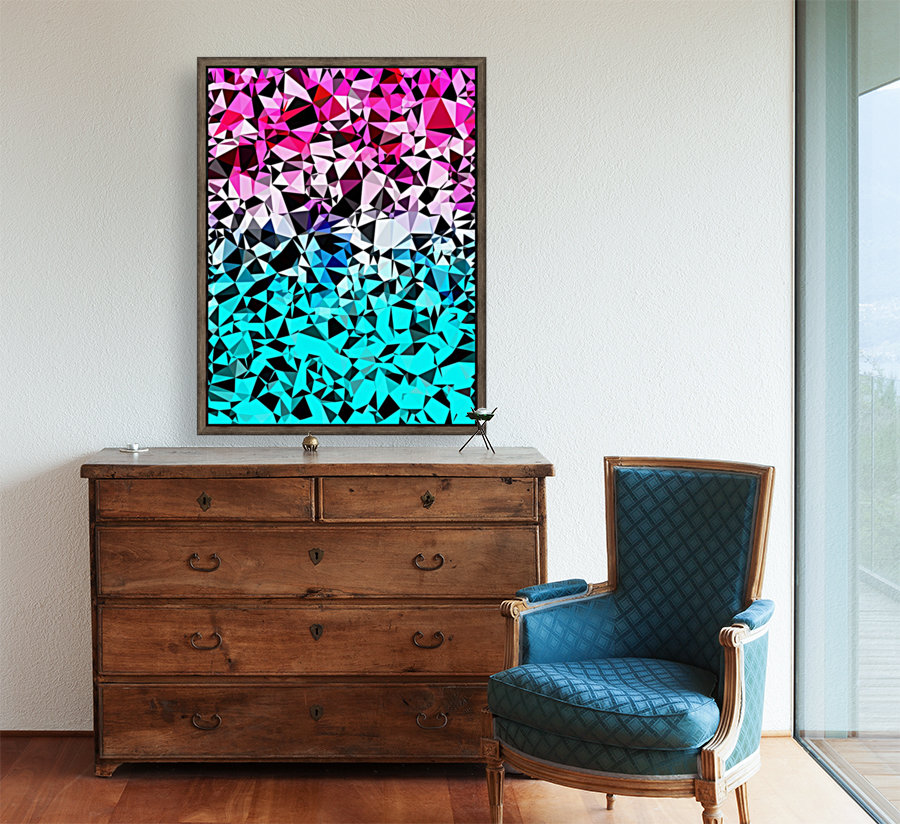 geometric triangle pattern abstract in pink blue black  Art