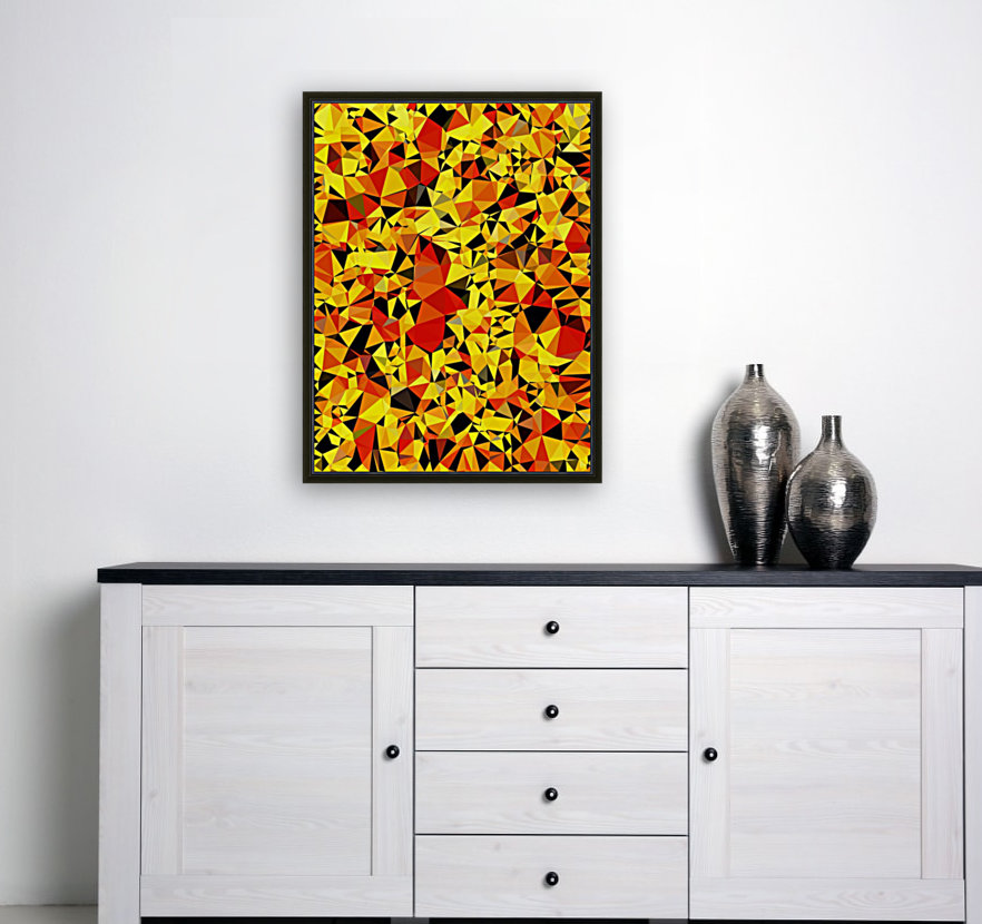 geometric triangle pattern abstract in orange yellow red  Art