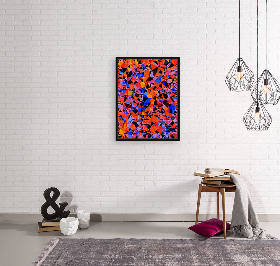 geometric triangle pattern abstract in blue orange red  Art