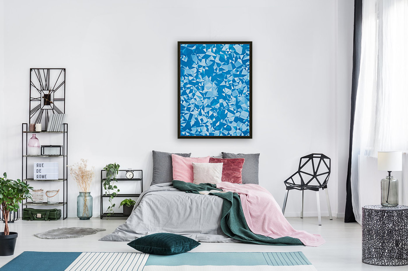 geometric triangle pattern abstract in blue  Art