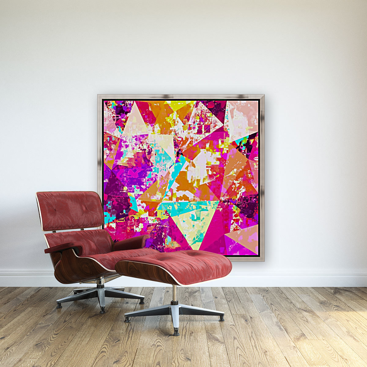 geometric triangle pattern abstract in pink blue purple  Art