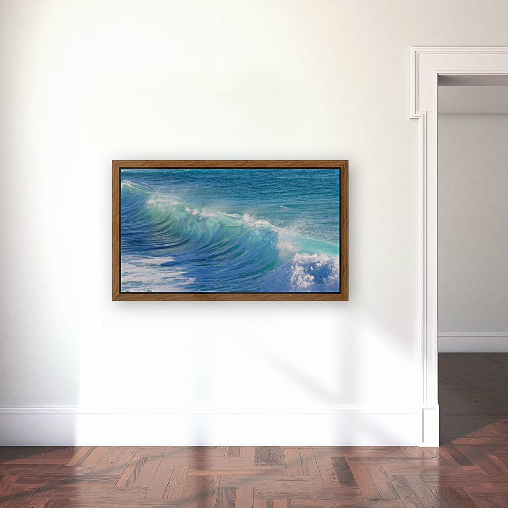 surf, water, wave, sea, nature, turquoise, ocean, splash, seashore, panoramic, spray, foam, with Floating Frame