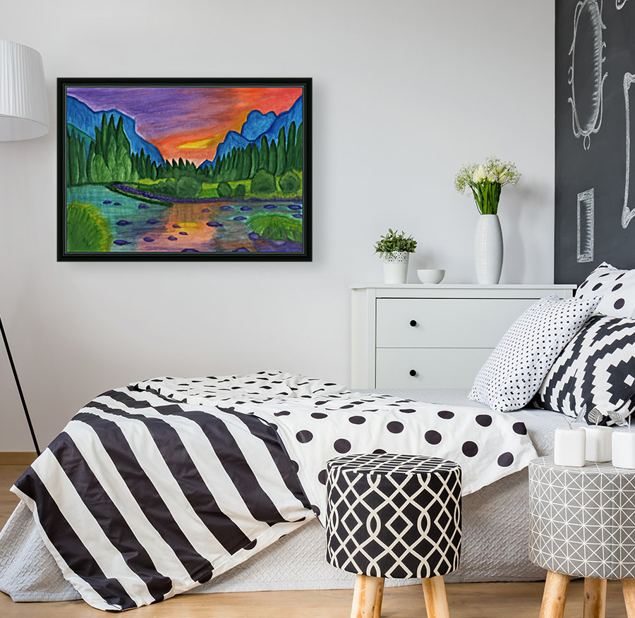 Mountain river in the background of the forest and the blue mountains at sunset  Art