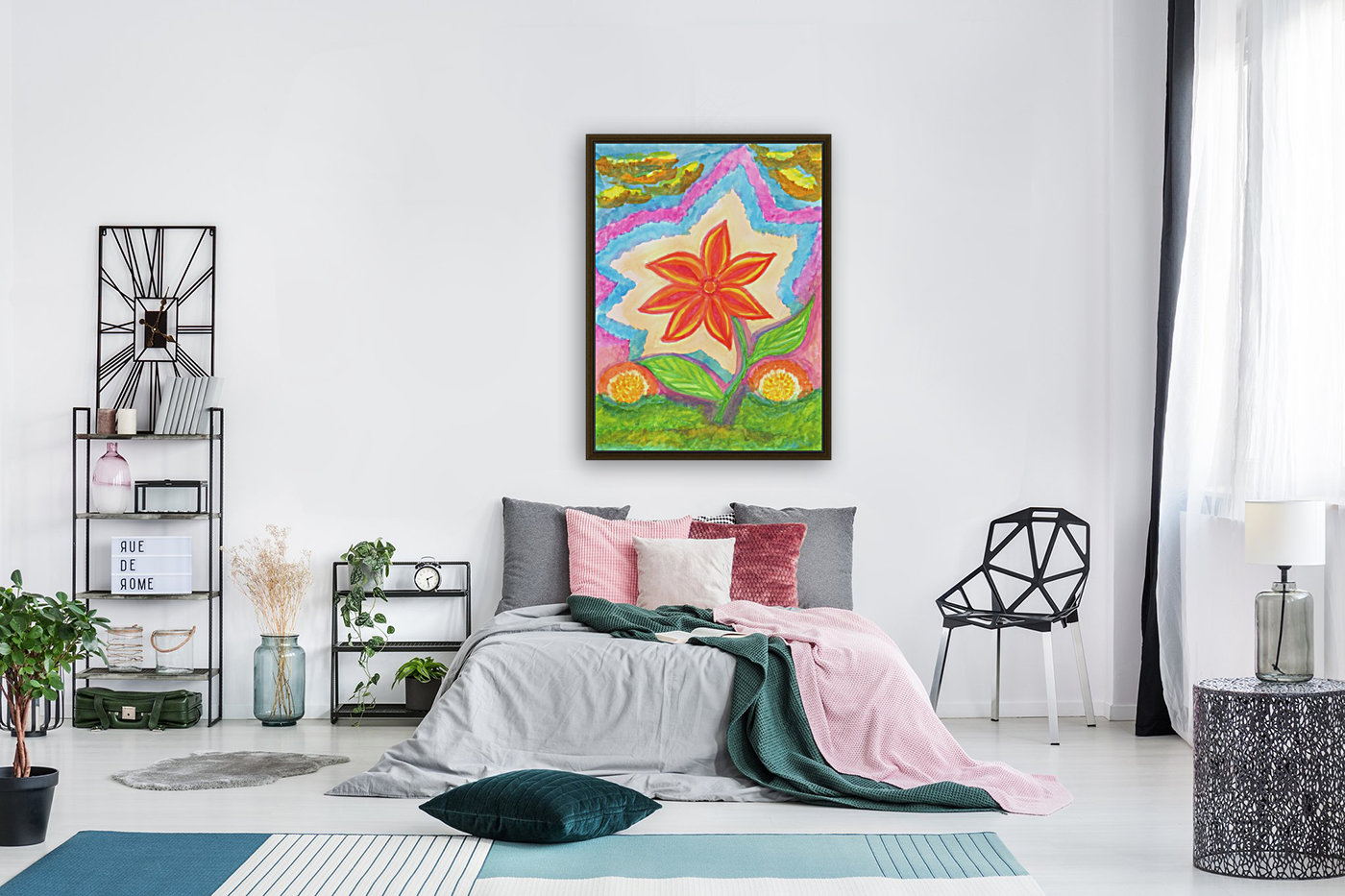 Magic scarlet flower  with Floating Frame