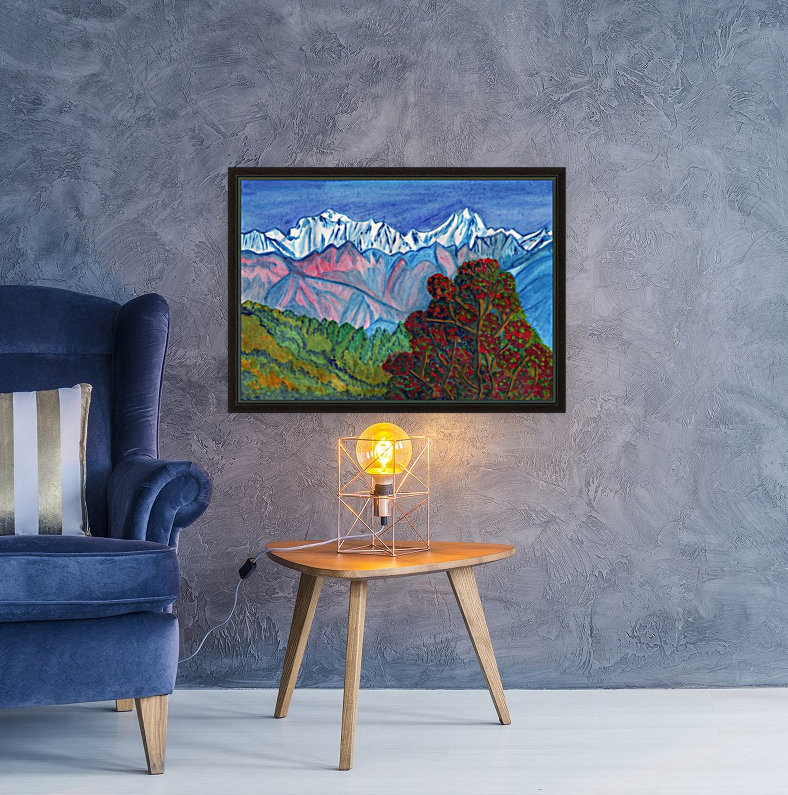 Blooming tree on a background of snowy mountains with Floating Frame