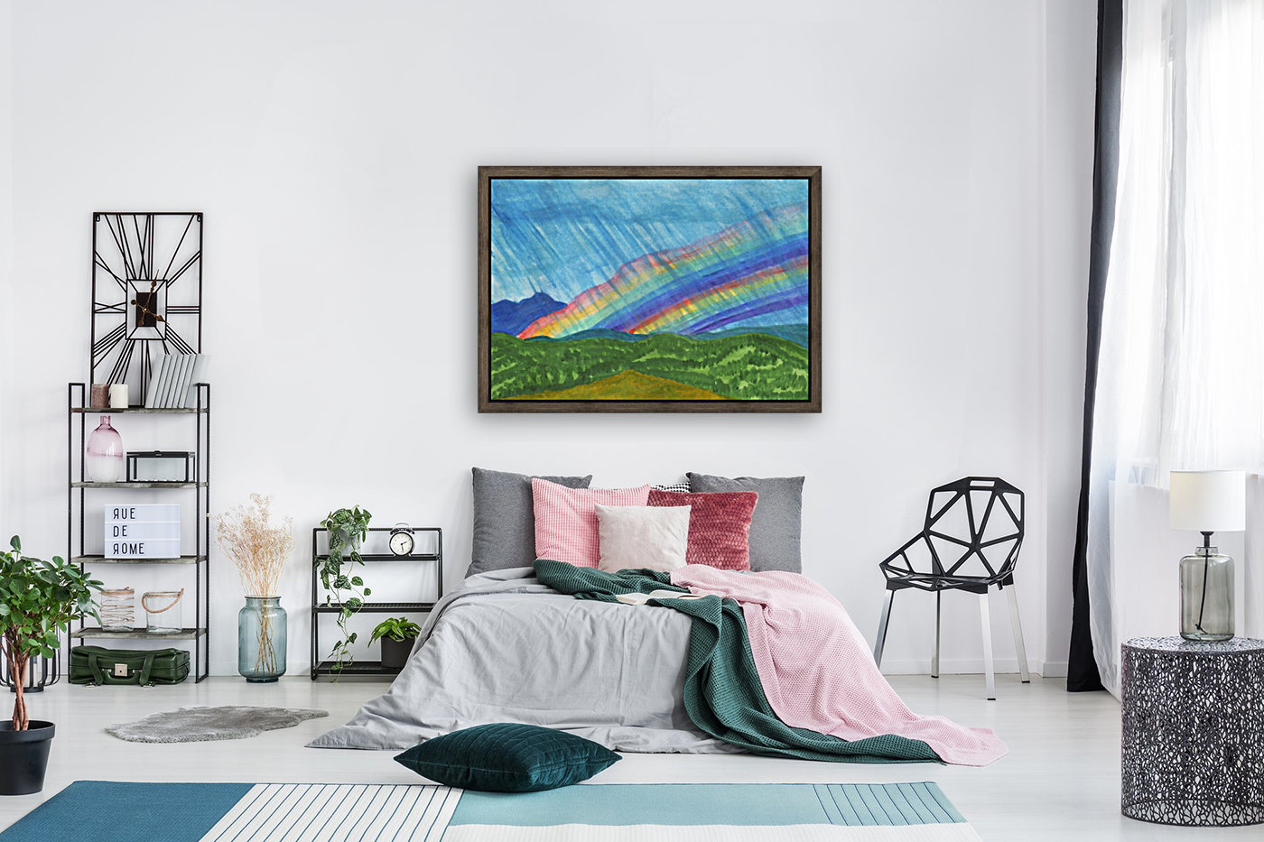 Double rainbow and rain in the mountains  Art