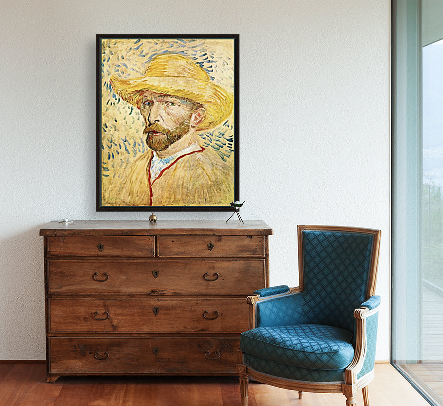 Self-Portait with straw hat by Van Gogh  Art