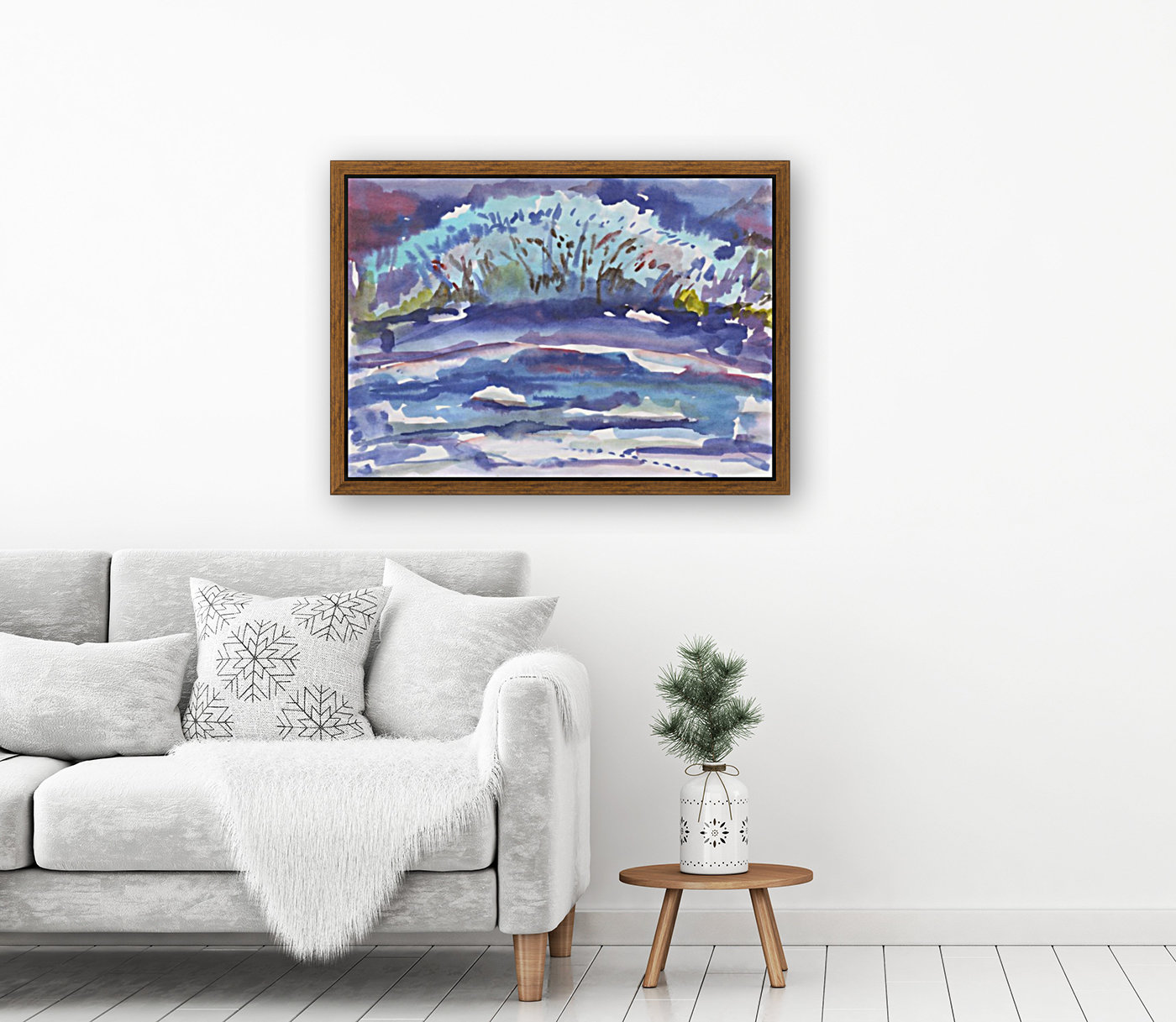Winter bush by the river with Floating Frame