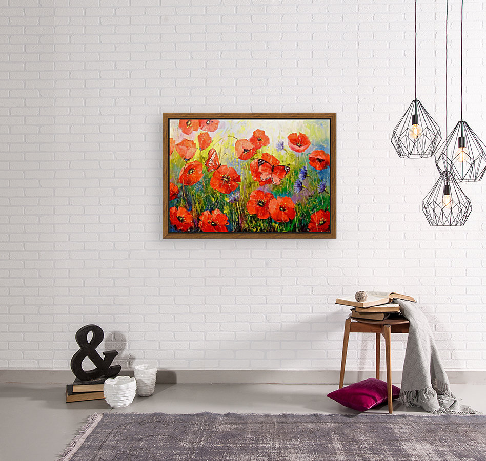 Poppies and butterflies with Floating Frame