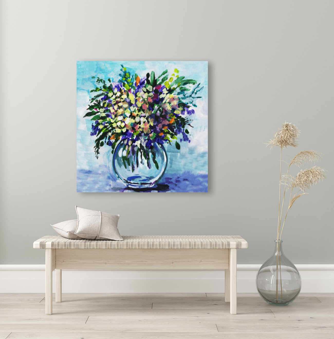 Impressionistic Flowers Burst Of Beauty with Floating Frame