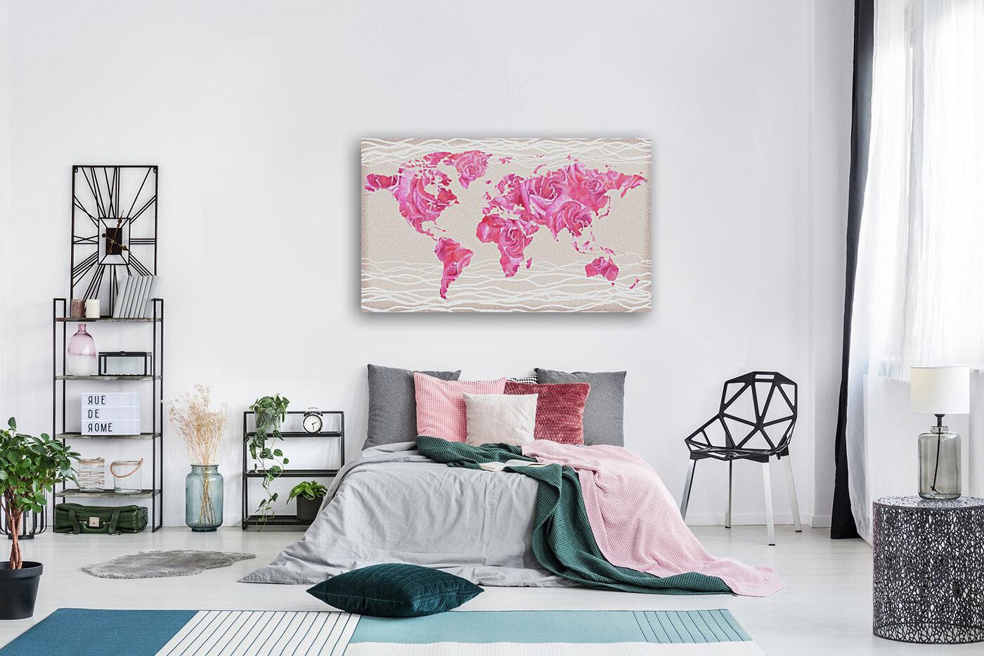Pink Rose Petals Watercolor Map Of The World  Art