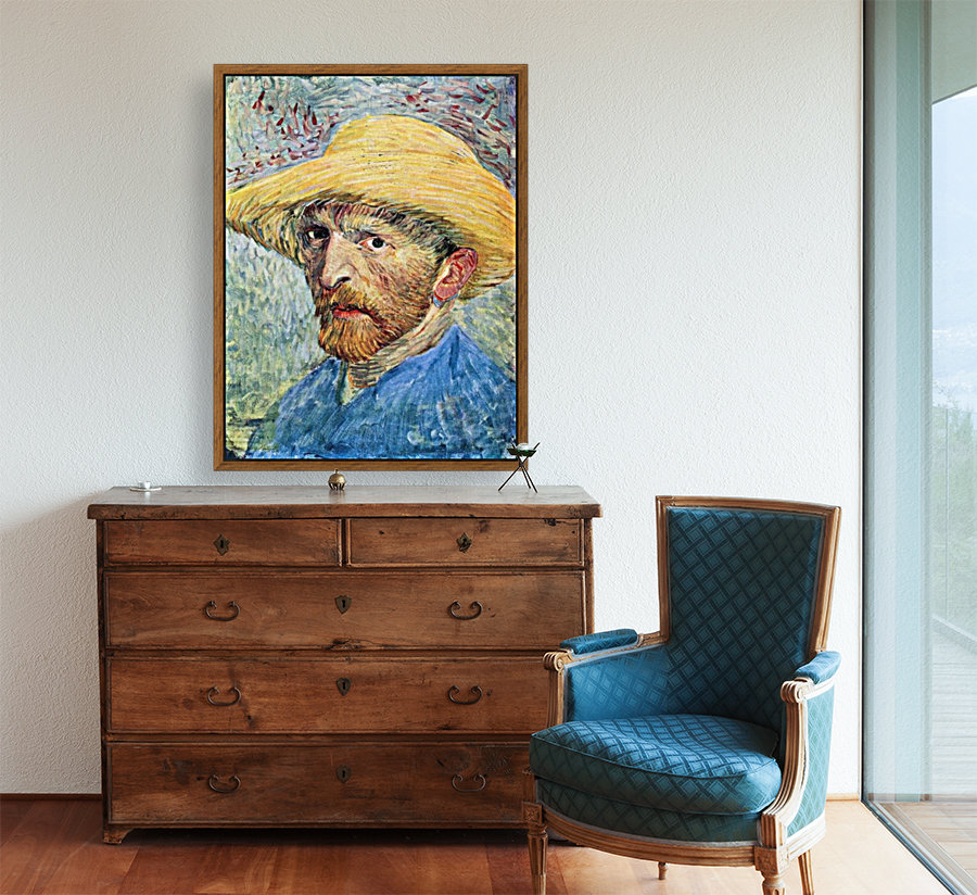 Self-portrait, with straw hat and blue shirt by Van Gogh  Art