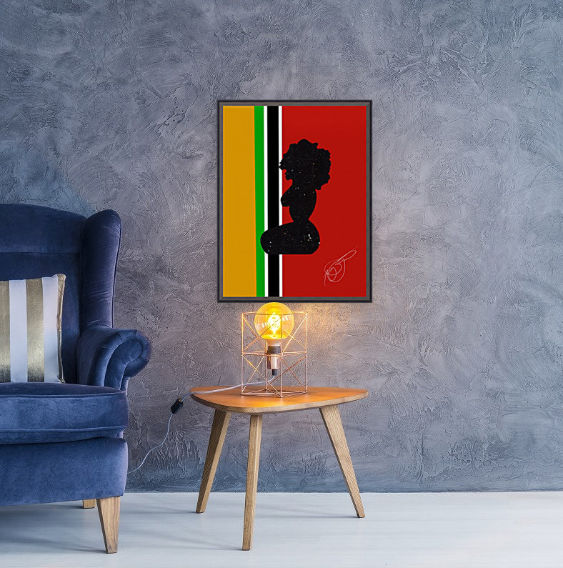 Afrocentric Woman Silhouette- African Flag  Art