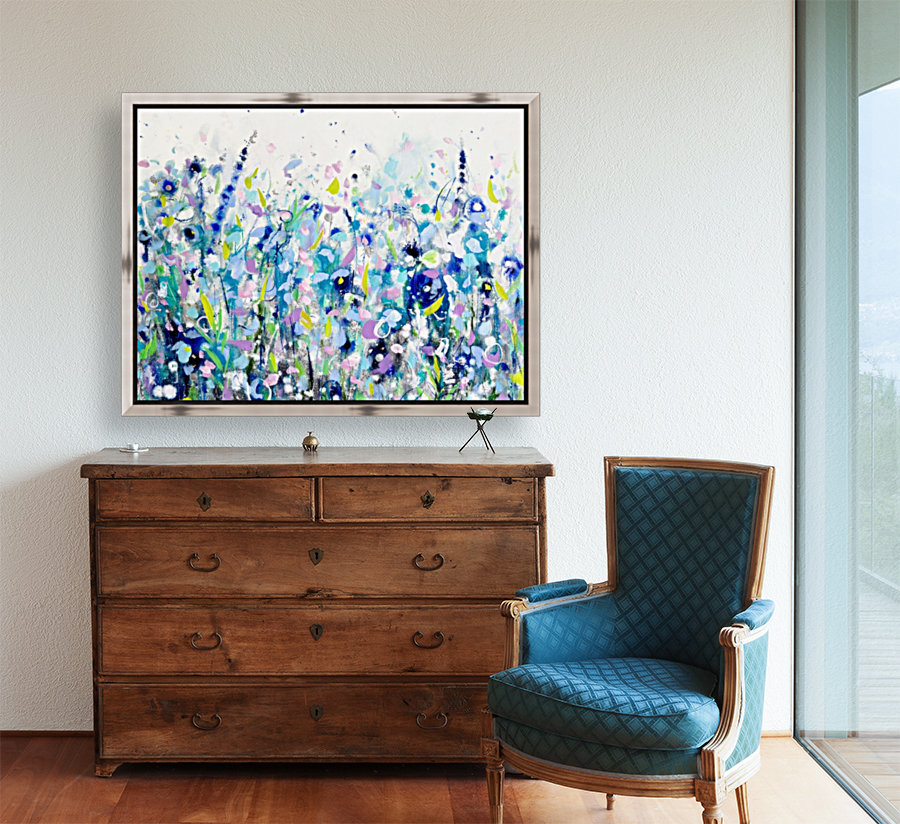 Ultramarine Meadow with Floating Frame