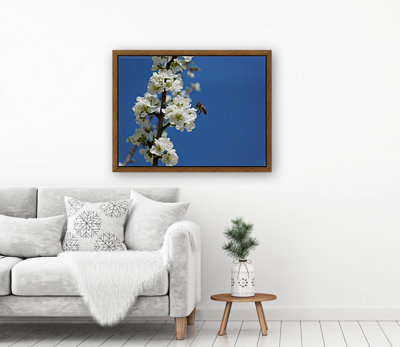 bee and flowers and blue sky  Art