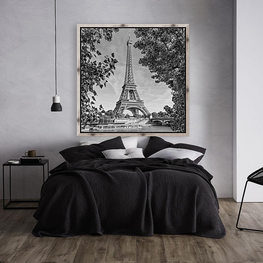 PARIS Eiffel Tower & River Seine   Monochrome  Art